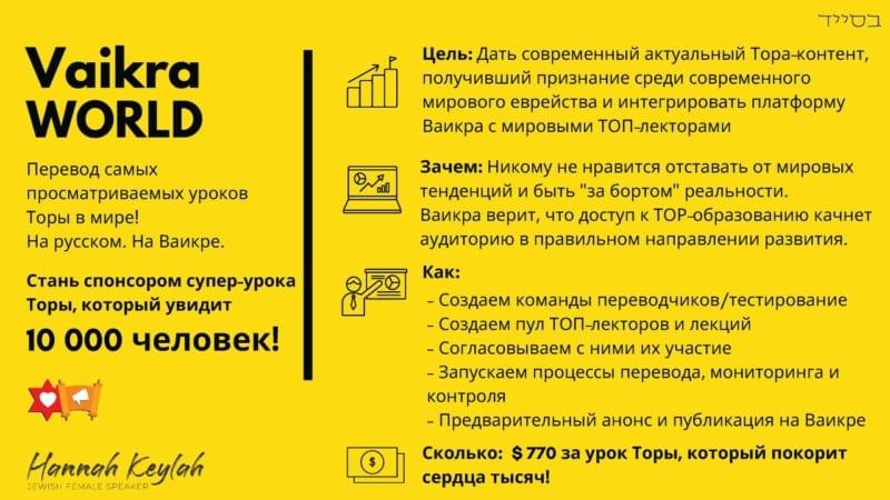 ТОЛЬКО НА ВАИКРА | Vaikra World – Топовые уроки Торы мирового уровня – на русском!