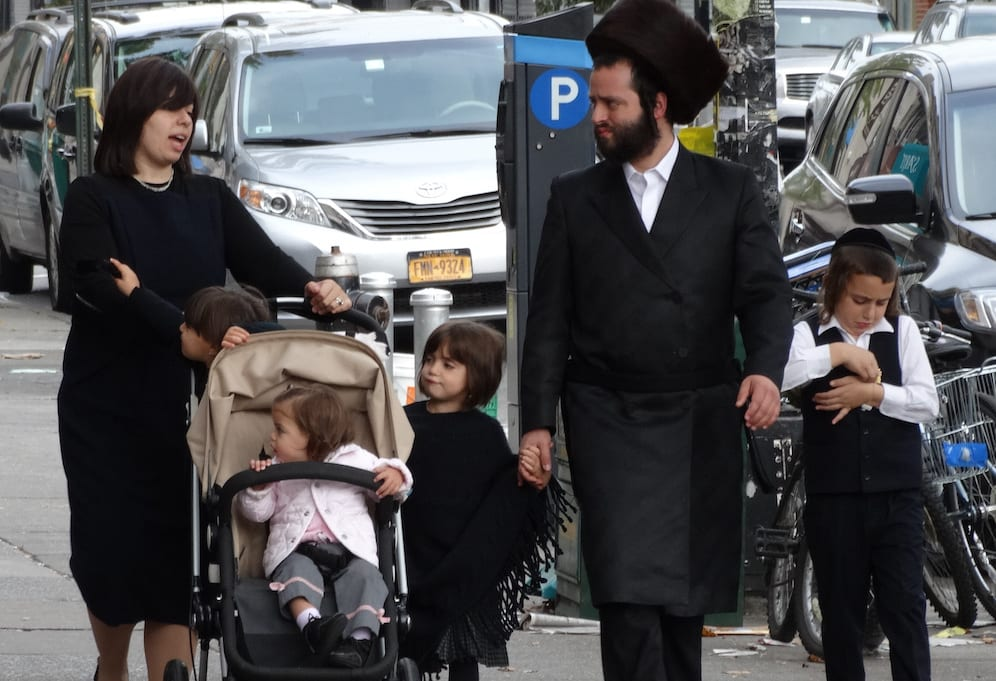 hasidic family in street borough park hasidic district brooklyn